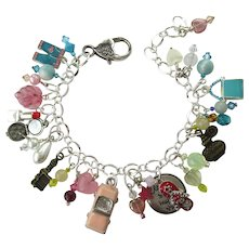 Love to Shop Charm Bracelet with Shopping Trip Charms and Matching Earrings