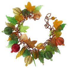 Bracelet in Shades of Autumn with Magnesite Beads and Colorful Leaves