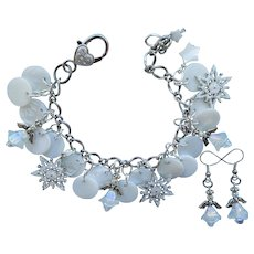 Snowflakes and Angels Charm Bracelet – Iridescent Angels – Sparkling Snowflakes – Angel Earrings