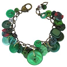 Charm Bracelet of Vintage Green Buttons with Two Plaid Buttons in Red and Green