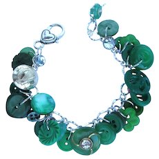 Charm Bracelet of Vintage Green Buttons with Celtic Harp Button and Rhinestone Accents