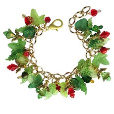 Angels and Evergreens Charm Bracelet with Sparkling Crystal Accents