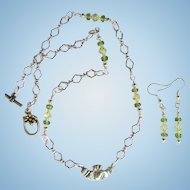 Sterling Silver Claddagh Pendant on Chain with Peridot and Swarovski Crystals and Matching Earrings