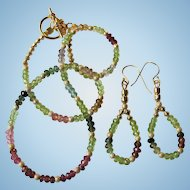 Peridot and Rainbow Tourmaline Choker and Earrings with Gold Stardust and Gold Vermeil Accents