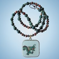 Green Dragon Pendant on Necklace of Agate and Jasper Beads in Green and Brown