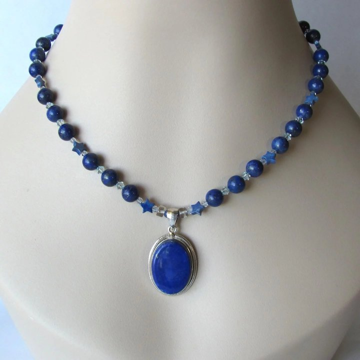 pendant lapis twist lazuli on gold pruden product flat ringear and shaped collar giant smith