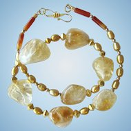 Citrine and Pearl Necklace in Golden Colors with Gold Vermeil Accents