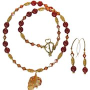 Carnelian and Swarovski Crystals Necklace with Swarovski Skull Pendant and Gold Vermeil with Earrings