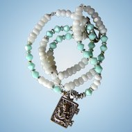 Angel Locket on Long Necklace of White Quartz and Mint Blue Swarovski Crystals