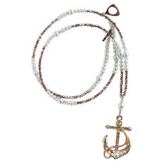 Long Anchor Pendant Necklace with Sparkling Crystals - Glass Pearls – Rose Gold Colors