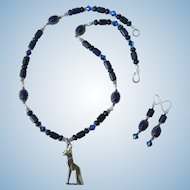 Bastet Pendant on Lapis Lazuli Necklace with Scarabs and Sterling Silver with Matching Earrings