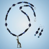 Bastet Pendant on Necklace of Lapis Lazuli – Scarabs – Sterling Silver - Swarovski Accents – Earrings