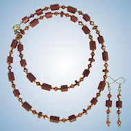 Long Necklace of Goldstone Beads and Copper Swarovski Crystals with Matching Earrings