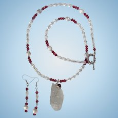 Large Quartz Crystal Pendant on Necklace of Rock Quartz Crystal with Matching Earrings