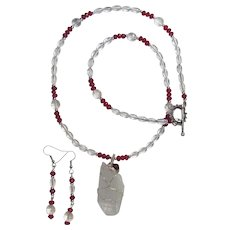 Quartz Crystal Pendant on Necklace of Rock Quartz Crystal with Matching Earrings