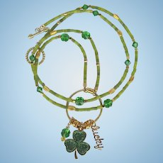 Long Shamrock Charm Necklace with Shamrock Focal – Swarovski Crystal Clovers – Serpentine Beads