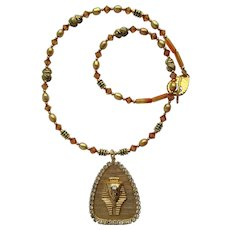 Ancient Egypt Motif Necklace with Pharaoh Pendant – Scarabs – Swarovski Crystals – Pearls