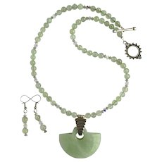 Sea Foam Green Serpentine Pendant on Prehnite Necklace – Matching Earrings