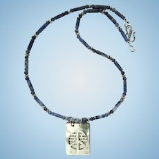 Pendant with Mother Teresa Quote on Necklace of Blue and White Sodalite