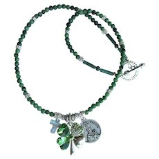 Shamrock Necklace with St. Patrick Medal – Cross – Shamrock with Rhinestones