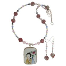 Woman and Flower Pendant Necklace with Rhodonite Quartz Flowers – Crystals – Earrings