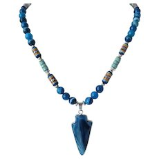 Necklace with Arrowhead Pendant of Banded Agate in Shades of Aqua