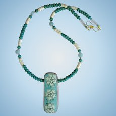 Turquoise Necklace with Chrysanthemum Dynasty Shard Pendant – Carved Flowers – Gold Accents
