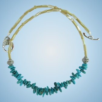 Necklace of Turquoise Petal Beads with Sterling Silver and Natural Mother of Pearl