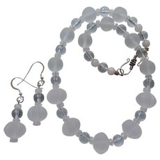 Icy Cool Quartz Crystal Choker with Moonstone and Matching Earrings
