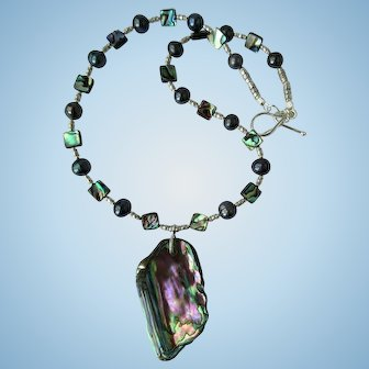 Paua Shell Pendant on Necklace of Black Pearls and Paua Beads with Silver Accents