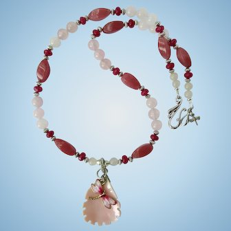 Dragonfly Necklace with Rose Quartz and Ruby Red Quartz