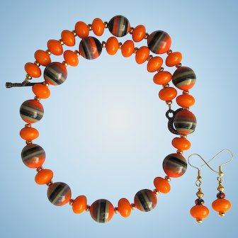 Necklace in Orange and Tangerine with Black and Orange Striped Beads and Matching Earrings