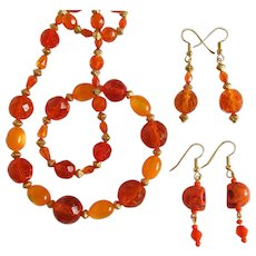 Orange Necklace of Fire-Polished Beads with Matching Earrings