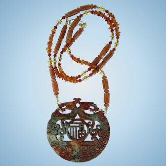 Carved Jade Dragon Pendant on Amber and Red Agate Necklace with Gold Vermeil Accents