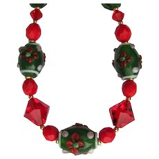 Red and Green Necklace with Swarovski Crystals and Lampwork Beads – Matching Earrings