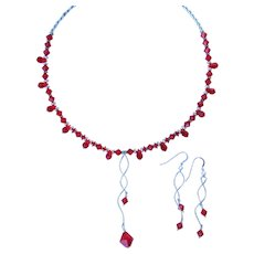 Red Swarovski Crystals and Sterling Silver Necklace with Modernist Pendant and Matching Earrings