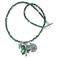Shamrock Necklace with St. Patrick Medal – Cross – Shamrock with Rhinestones