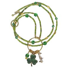 Long Shamrock Charm Necklace - Swarovski Crystal Clovers - Shamrock Focal