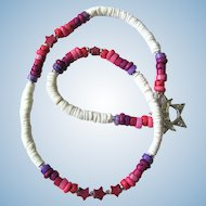 Choker of White Shell Heishis with Pink and Purple Magnesite and Star Accents