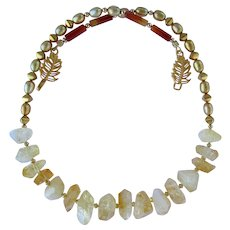 Citrine Necklace with Golden Pearls and Gold Vermeil Accents