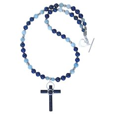 Lapis Lazuli and Sterling Silver Cross Necklace with Aquamarine and Lapis Beads