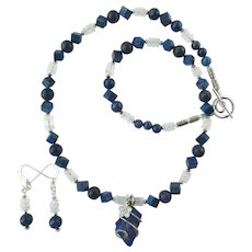 Rough-Cut Lapis Lazuli Pendant and Swarovski Flower on Moonstone and Lapis Necklace