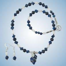 Rough-Cut Lapis Lazuli Pendant and Swarovski Flower on Moonstone and Lapis Necklace