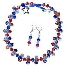 Red, White, and Blue Sparkling Crystal Choker and Earrings