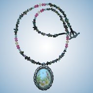 Hand-Painted Pendant with Flowers on Necklace of Tourmaline – Sapphire – Citrine