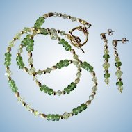 Faceted Peridot Necklace with Gold Beads – Crystal Accents – Matching Earrings