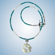 Three Dolphins Pendant in White with Turquoise-Colored Magnesite and Mother of Pearl