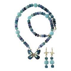 Cloisonné Butterfly Pendant on Rainbow Fluorite Necklace – Amazonite Flowers – Earrings