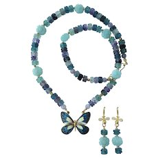 Cloisonné Butterfly Pendant on Rainbow Fluorite Necklace – Amazonite Flowers – Earrings
