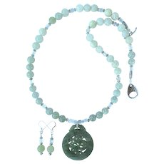 Green Jade Dragon Pendant on Etched Jade Bead Necklace - Matching Earrings